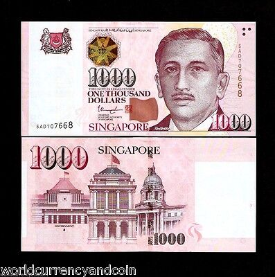 SINGAPORE 1000 DOLLARS P43 2015-2017 1 or 2 Hollow or Solid House UNC MONEY NOTE