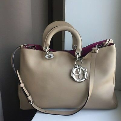 fcb561d7a AUTH CHRISTIAN DIOR Diorissimo Handbag Large Tote Bag Beige color ...