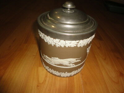 Wedgwood? Earthenware Jasperware Biscuit Jar Barrel Brown Greyhounds In Relief