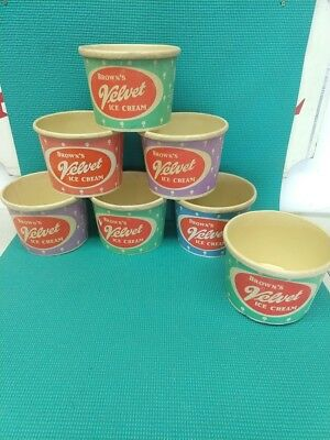 Vintage Brown's Velvet Ice Cream Containers Lot of 7