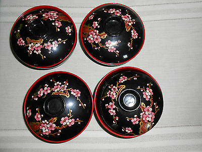 Lacquered rice bowls with hand painted pink blossoms lids set of 4