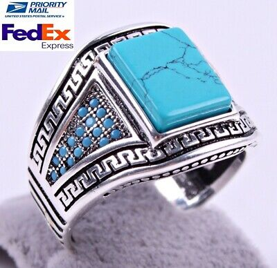 Turkish Handmade Turquoise Stone 925 Sterling Silver Mens Mans Ring US ALL SİZE