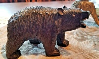 """Vintage BEAR HAND CARVED SCULPTURE with TEETH ~ 6"""" long ~ Great Detail"""