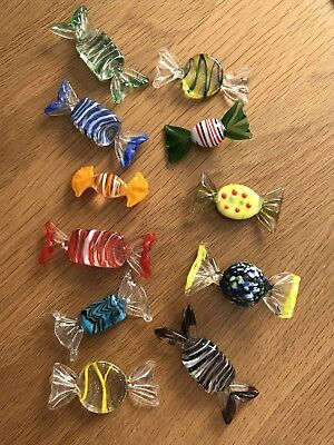 11 MURANO GLASS SWEETS, BON-BONS. Excellent.