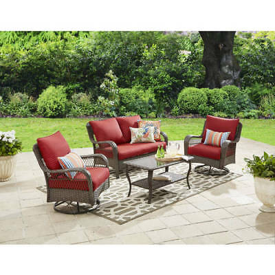 Patio Chat Set 4pc Garden Furniture 2 Swivel Chairs Loveseat Table Resin Wicker