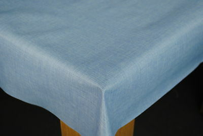 Sky Blue Linen Look Smooth Finish PVC Vinyl Wipe Clean Oilcloth Tablecloth