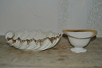 Vintage Two Piece Lot Lenox Leaf Bowl and Bowl with Gold Trim