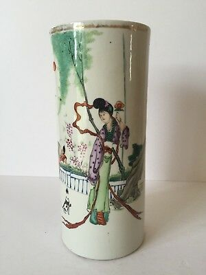 Chinese Antique 19Th Century Porcelain Famille Verte Hat Stand China Marked