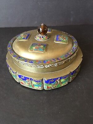 Chinese Antique Early 20Th Century Cloisonne & Peking Box China Marked