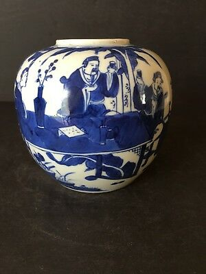 Chinese Antique 19Th Century Porcelain Blue & White Jar