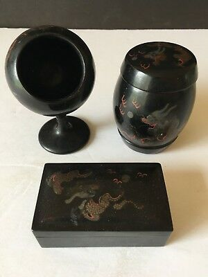 Chinese Antique Early 20Th Century Lacquer Box Set Chinese Marked