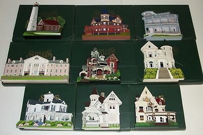Lot of 9 SHELIA'S Wood LARGE Houses in BOX