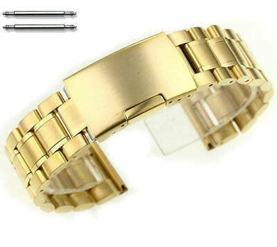 Gold Tone Steel Metal Bracelet Replacement Watch Band Strap Push Button #5017