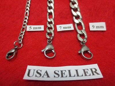 "5/7/9 MM Men, Boys 7-40"" Stainless Steel Silver Figaro Chain  Necklace"