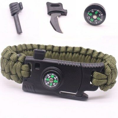 Outdoor Survival Rescue Bracelet Knife Paracord Camp Whistle Scraper Rope Gearx2