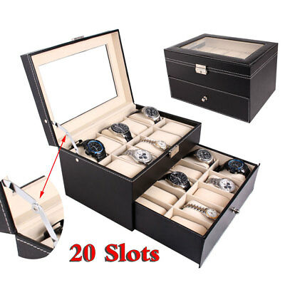 20 Grids Slots Leather Watch Box Display Storage Holder Organizer Case 2 Tiers