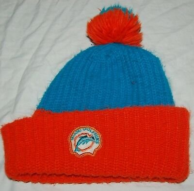 ced5ed5e0399c Vintage Miami Dolphins NFL Football Pom Pom Knit Winter Ski Beanie Hat  Orange M
