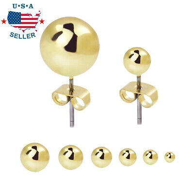 6 Pairs 316L Surgical Stainless Steel Round Ball Studs Earrings for Mens Womens