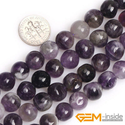 Natural Dream Lace Amethyst Freeform Round Beads For Jewelry Making Strand 15''