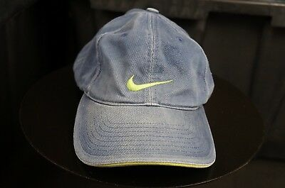 ae03388548112 Rare VTG NIKE Swoosh Spell Out Adjustable Strap Hat Cap 90s Retro Hip Hop  Blue