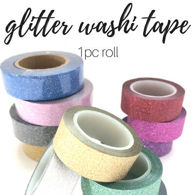 Washi tape glitter colours, 5 metres, blue and silver glitter, planner scrapbook