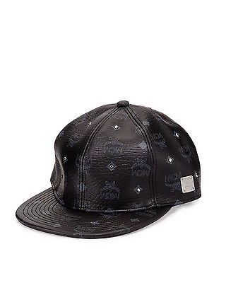 24980ca3242 100% AUTHENTIC NEW Mcm Black Leather Visetos Baseball Cap hat Sz M ...