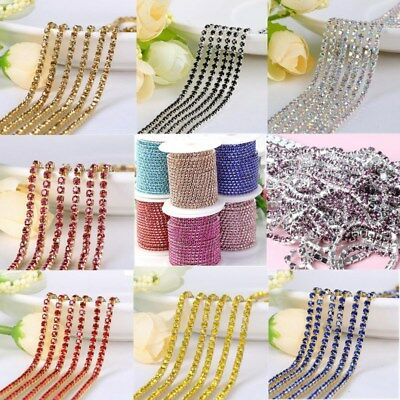 Multicolor Crystal Rhinestone Close Chain Trim Sewing Craft DIY Crystal Chain
