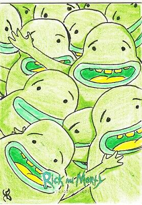 2018 Cryptozoic Rick And Morty Sketch Card Traflorkians by Kyle Burles