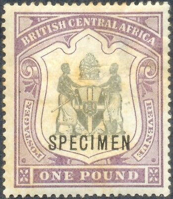 British Central Africa 1897, 1 Pound Specimen, WMK Crown CC, SG 51, SC 55, H