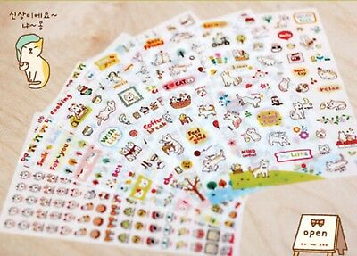 6 Sheets Cute Stickers Small Kawaii Korean Diary Scrapbook Craft Transparent Cat