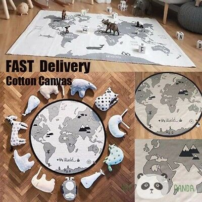 Baby Kid Soft World Map Play Rug Game Mat Bedroom Carpet Crawling Blanket Mat