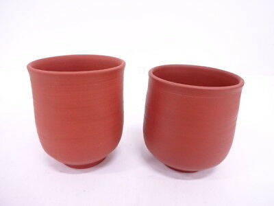 3681994: Japanese Pottery Tokoname Ware / Tea Cup Set Of 2 / Red Clay By Jozan Y