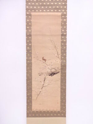 3677948: Japanese Wall Hanging Scroll / Hand Painted / White Ume Blossom