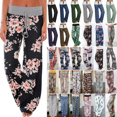 Fashion Ladies Floral Boho Palazzo Trousers Womens Casual Summer Wide Leg Pants