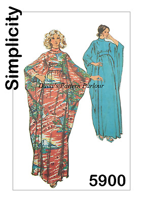Vintage Sewing Pattern 1970s Caftan Simplicity 5900 Retro Daisys 1970 70s