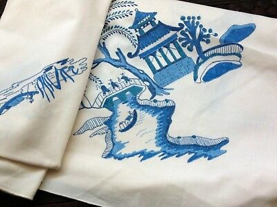 """Vintage Tablecloth Chinese Pagoda River Scenes  Blue & White 55"""" Cotton"""