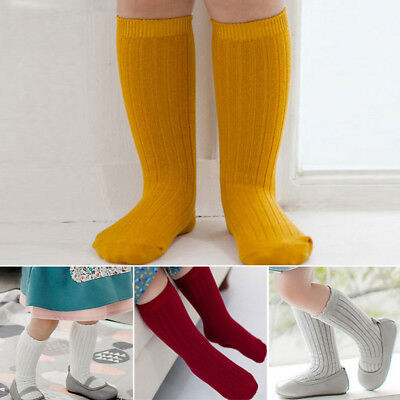 US Toddler Kid Baby Girl Knee High Long Socks Cotton Casual Plain Stockings Gift
