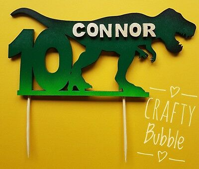 Trex Dinosaur Personalised Hand Made Wooden Birthday Cake Topper Any Age/name