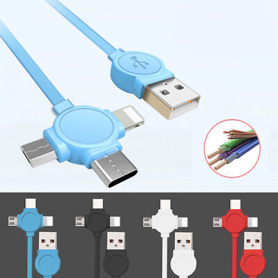 3in1 Charger Cable Adapter Micro USB +Lightning+Type C Data Sync Fast Charging