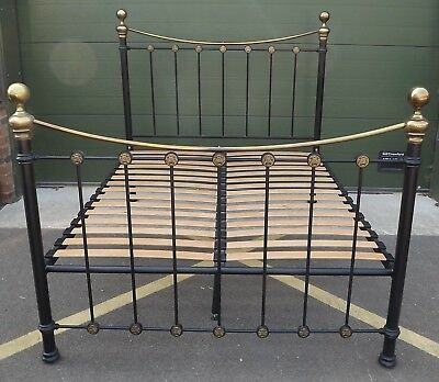 Metal & Brass King-Size Double Bed Frame in the Antique Style (No Mattress)