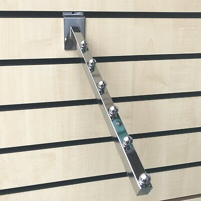 Slatwall Arm Heavy Duty 6 Ball Slope Chrome Waterfall Arm For Slatwall Fittings