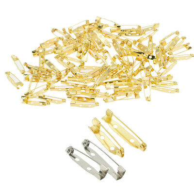 100pcs Brooch Locking Bar Pin Back Safety Latch Clasp for Crafts Jewelry Making