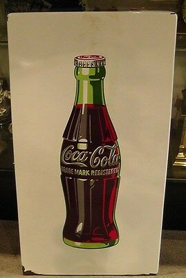 "Vintage 33"" x 18"" White Porcelain Coca Cola Bottle Sign w/Embossed Letters RARE"