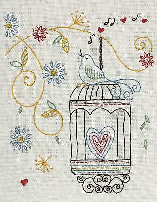 Anchor - Birdcage Design - Starters Freestyle Embroidery Kit - Printed Linen