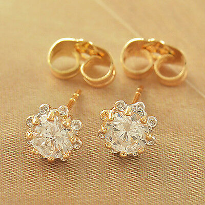 c8784302e52db CHILDREN BABY GIRLS earings Yellow Gold filled safety cute Flower ...