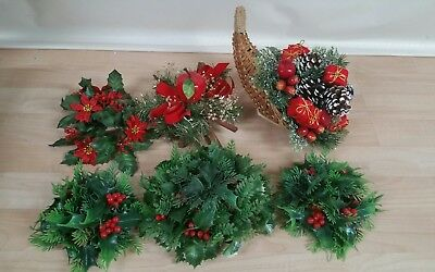 christmas plastic holly decorations vintage
