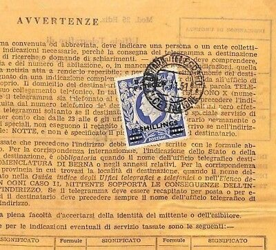 A1950.12 BOIC GB 10s HIGH VALUE OVERPRINT *Eritrea* British Admin Telegram Italy