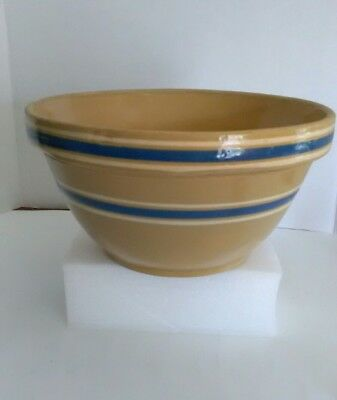 Vintage Stoneware Pottery Mixing Bowl Blue White Stripes Bands Yellow Ware No.11