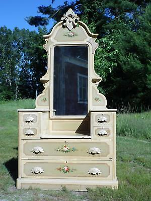 Antique Victorian Cottage Princess Drop Well Hand Painted Dresser Vanity Mirror