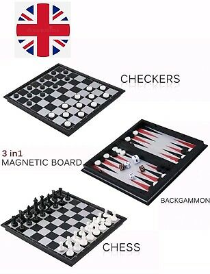 Invotis 3 in 1 Magnetic Portable Travel Chess, Checkers & Backgammon games.